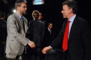 Antanas Mockus (vlevo) a Juan Manuel Santos